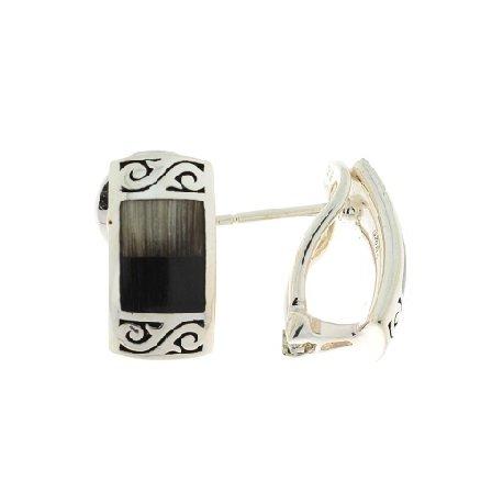 Сережки жіночі срібні 925* родій вставка ріг Арт 11 2 5364