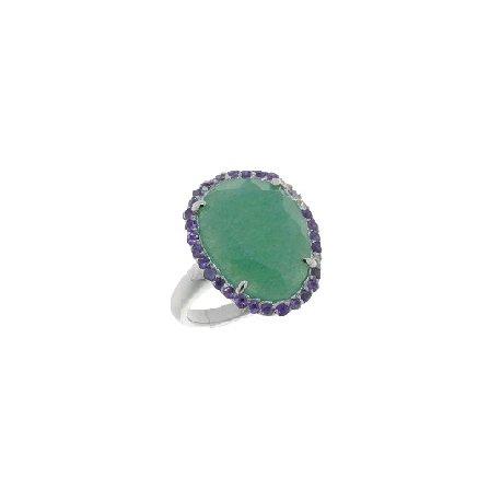 Кольцо женское серебряное 925* родий авантюрин аметист Арт 15 6232