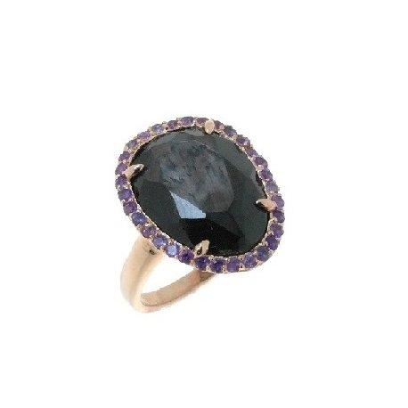 Кольцо женское серебряное 925* позолота гиперстен аметист Арт 55 6232