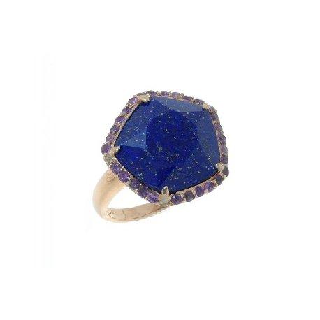 Кольцо женское серебряное 925* позолота лазурит аметист Арт 55 6224