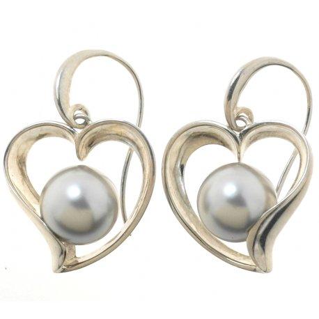 Сережки жіночі срібні 925* родій синт. перли Арт 11 2 5032