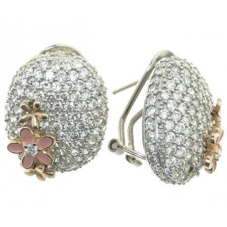 Серьги женские серебряные 925* родий цирконий эмаль Арт 11 0386