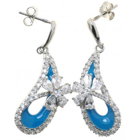 Серьги женские серебряные 925* родий цирконий эмаль Арт 11 4175В