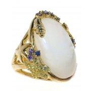 Кольцо женское серебряное 925* позолота перламутр циркон Арт 55 5635Х