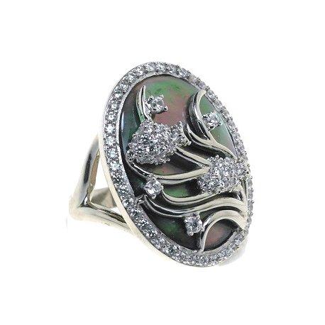 Кольцо женское серебряное 925* родий перламутр циркон Арт15 5641А