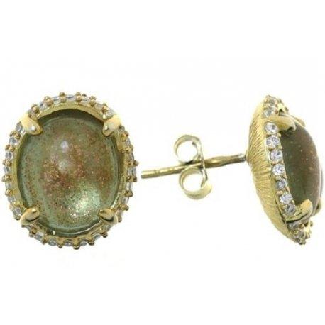 Серьги женские серебряные 925* позолота цирконий кварц Арт 51 3277
