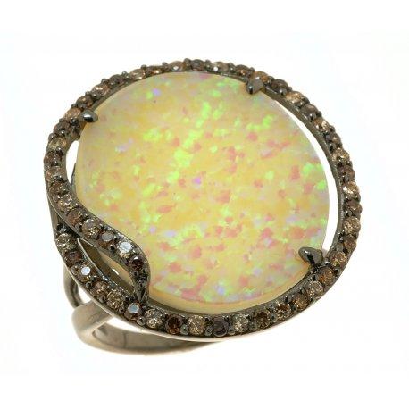 Кольцо женское серебряное 925* чернение цирконий опал Арт 15 6089А-Х
