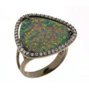 Кольцо женское серебряное 925* чернение цирконий опал Арт 15 6093В-Х