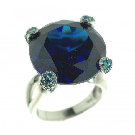 Кольцо женское серебряное 925* родий цирконий Арт 15 4754