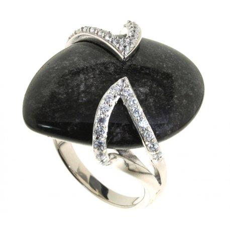 Кольцо женское серебряное 925* родий обсидиан циркон Арт 15 5332