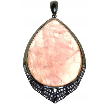 Підвіс жіночий срібний 925* чорніння цирконій кварц Арт 13 7616-Х