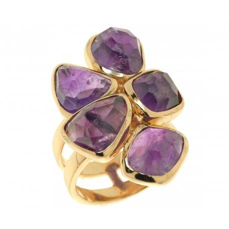 Кольцо женское серебряное 925* позолота аметист Арт 55 5968