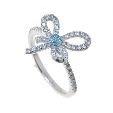 Кольцо женское серебряное 925* родий цирконий Арт 155 227