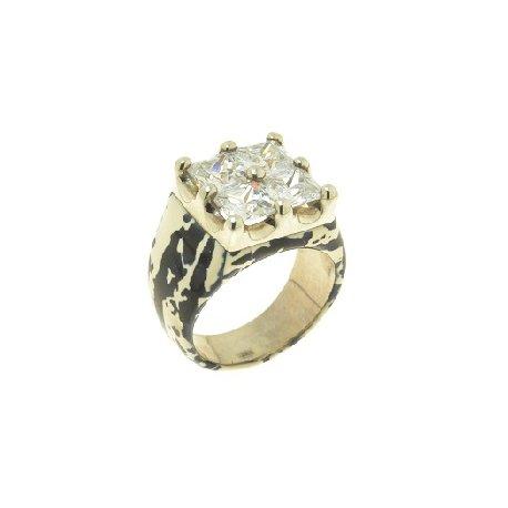 Кольцо женское серебряное 925* родий цирконий эмаль Арт 15 2 2982