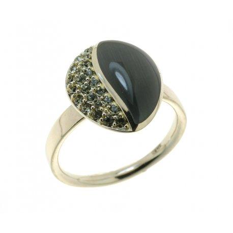 Кольцо женское серебряное 925* родий кошачий глаз Арт 15 2 4044