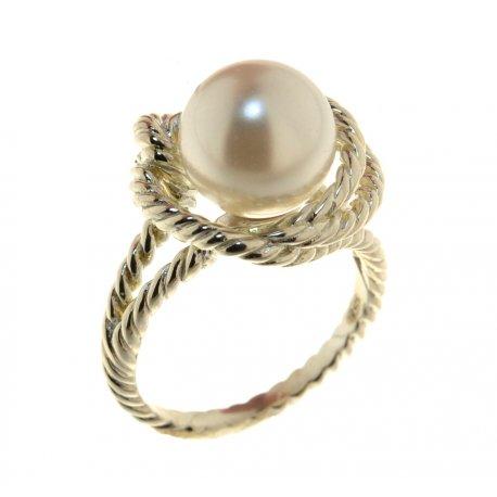 Каблучка жіноча срібна 925* родій перли Арт15 2 4160-136