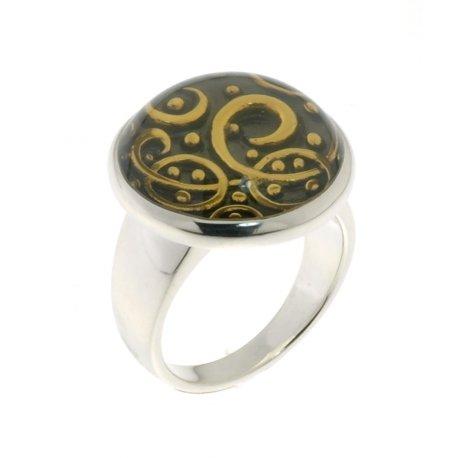 Кольцо женское серебряное 925* позолота родий эмаль Арт 15 2 4014