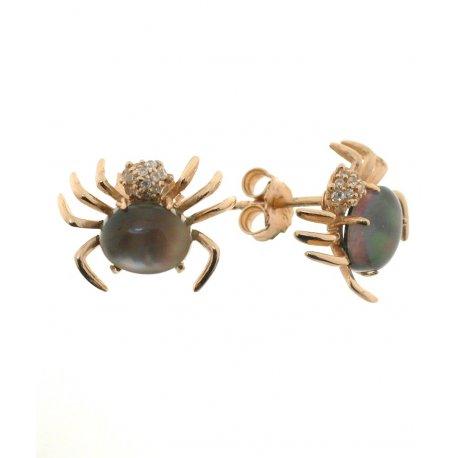 Серьги женские серебряные 925* позолота лабрадорит циркон Арт 51 5550