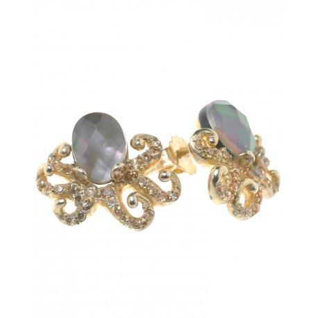 Серьги женские серебряные 925* позолота лабрадорит циркон Арт 51 4969