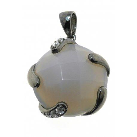 Подвес женский серебряный 925* чернение цирконий агат Арт 13 5526