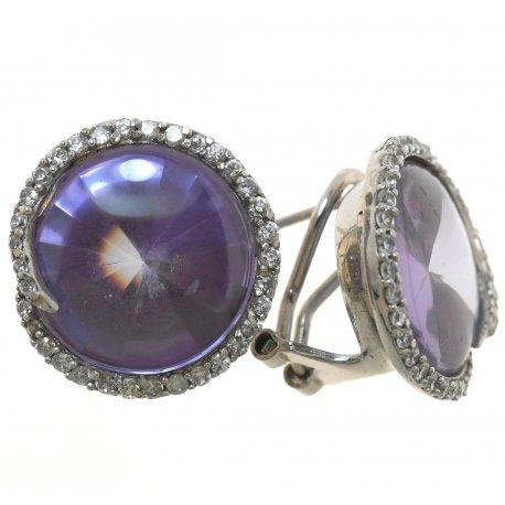 Серьги женские серебряные 925* родий цирконий Арт 11 1091