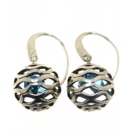 Серьги женские серебряные 925* родий кристаллы Арт 11 2 3740-97