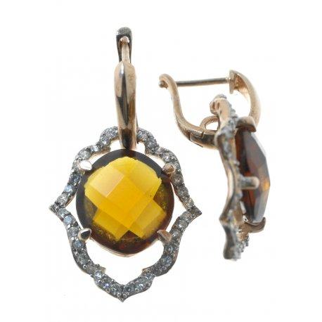 Серьги женские серебряные 925* позолота цирконий Арт 11 2293
