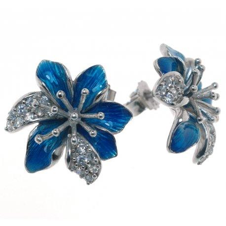 Серьги женские серебряные 925* родий цирконий эмаль Арт 11 4645