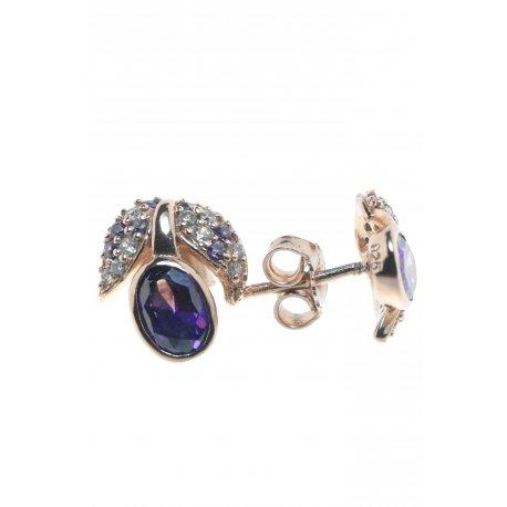 Серьги женские серебряные 925* позолота цирконий Арт 51 5419