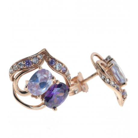 Серьги женские серебряные 925* позолота цирконий Арт 51 5420