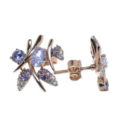 Серьги женские серебряные 925* позолота цирконий Арт 51 5422