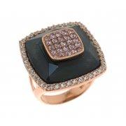 Кольцо женское серебряное 925* позолота цирконий гематит Арт 55 5884