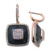 Серьги женские серебряные 925* позолота цирконий гематит Арт 51 5742