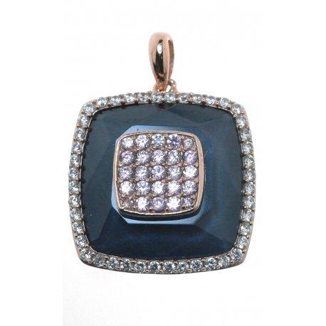 Підвіс жіночий срібний 925* позолота цирконій гематит Арт 53 6845