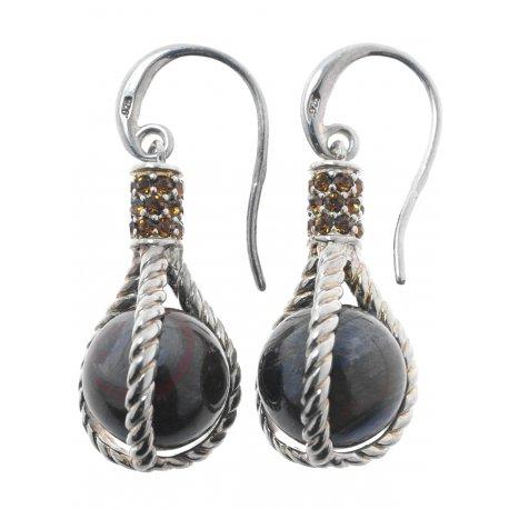 Серьги женские серебряные 925* родий цирконий тигровый глаз Арт11 2 4113