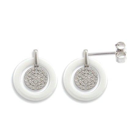 Серьги женские серебряные 925* керамика цирконий Арт 11 5 012б
