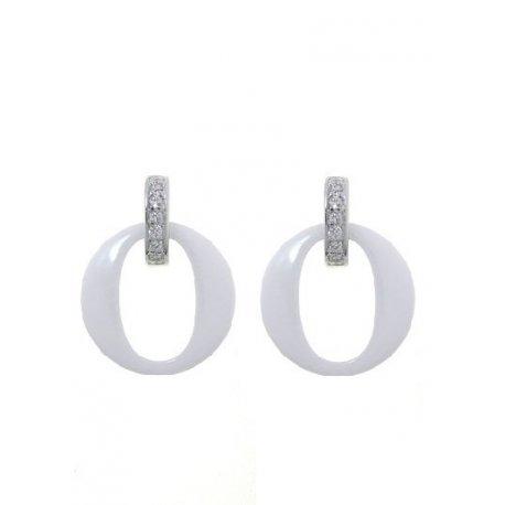 Серьги женские серебряные 925* керамика цирконий Арт 11 5 013б