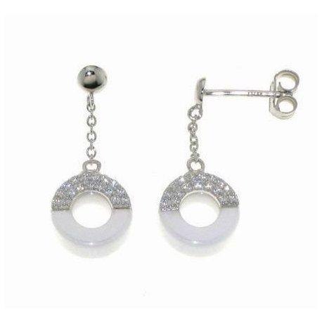 Серьги женские серебряные 925* керамика цирконий Арт 11 5 009б