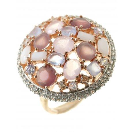 Кольцо женское серебряное 925* позолота кварц авантюрин хризолит аметист Арт 15 4 0115