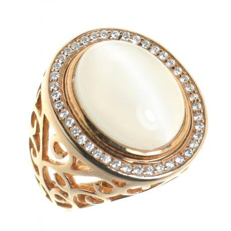 Кольцо женское серебряное 925* позолота кошачий глаз цирконий Арт15 4 0312
