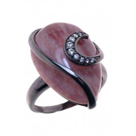 Кольцо женское серебряное 925* чернение цирконий кварц Арт 15 2525