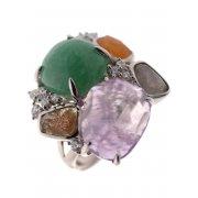 Кольцо женское серебряное 925* родий аметист авантюрин циркон Арт 15 5311
