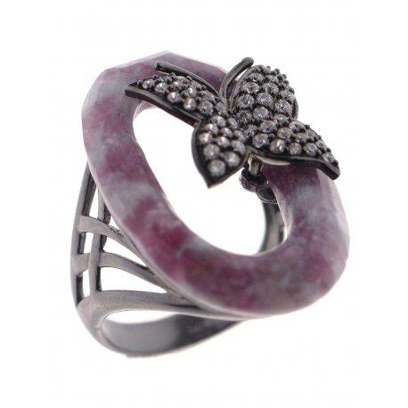 Кольцо женское серебряное 925* чернение лепидолит циркон Арт 15 6702