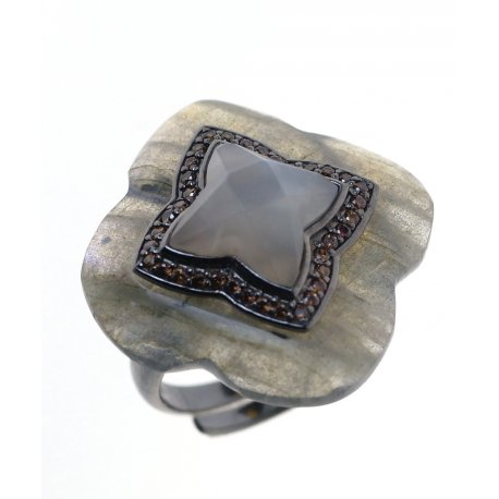 Кольцо женское серебряное 925* чернение лунный камень лабрадорит циркон Арт 15 6616