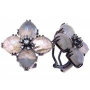 Серьги женские серебряные 925* чернение лабрадорит циркон Арт 11 8317