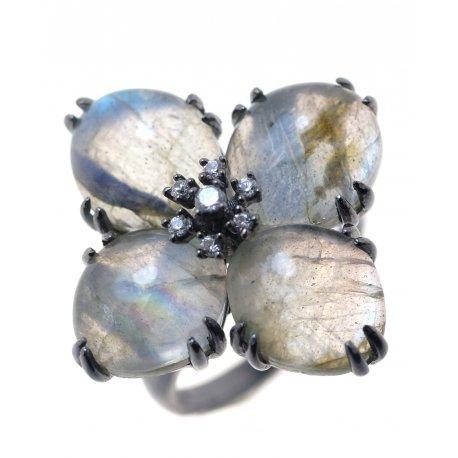 Кольцо женское серебряное 925* чернение лабрадорит циркон Арт 15 2336-1