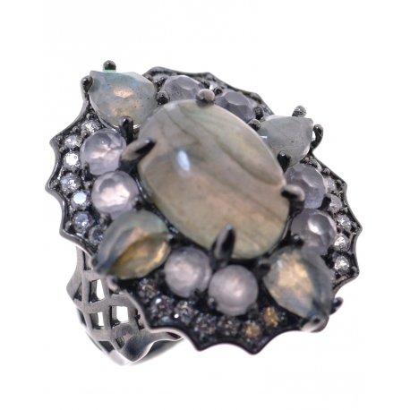 Кольцо женское серебряное 925* чернение кварц лабрадорит циркон Арт 15 6961