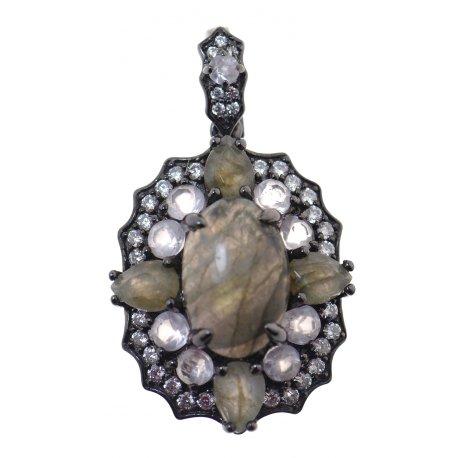 Підвіс жіночий срібний 925* чорніння кварц лабрадорит циркон Арт 13 8178