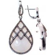 Серьги женские серебряные 925* родий авантюрин циркон Арт 11 8478