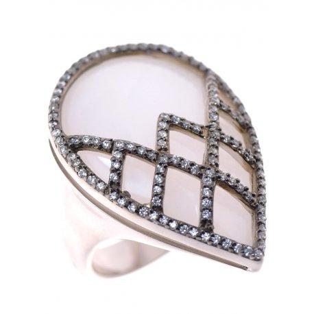 Кольцо женское серебряное 925* родий авантюрин циркон Арт 15 7104
